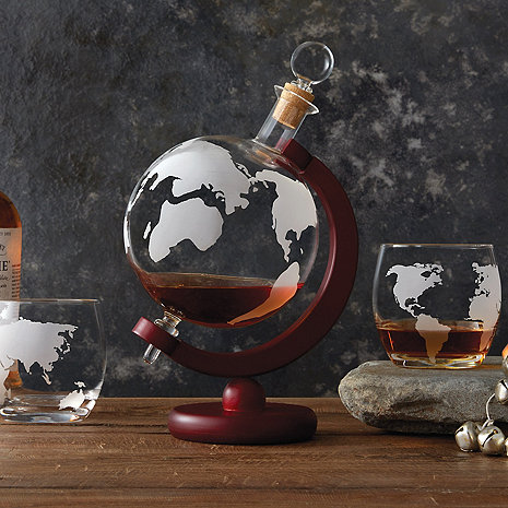 etched globe whiskey decanter glass set wine enthusiast. Black Bedroom Furniture Sets. Home Design Ideas