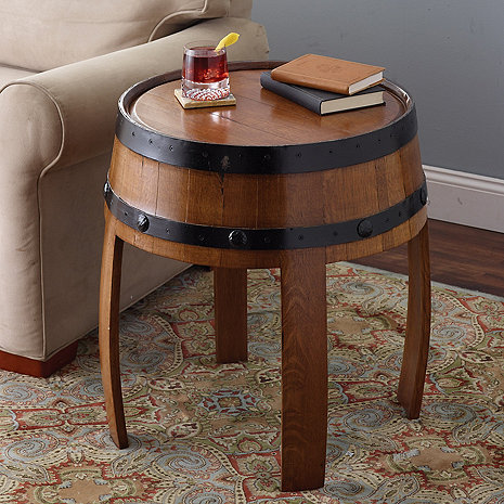 recycled tequila barrel end table wine enthusiast