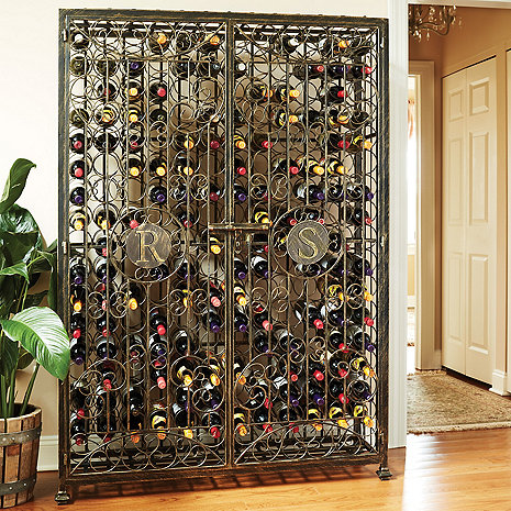 Personalized 192-Bottle Antiqued Steel Double Wine Jail