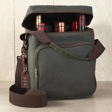 6-Bottle Waxed Canvas Weekend Wine Bag