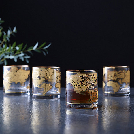 World Map Glasses (Set of 4)