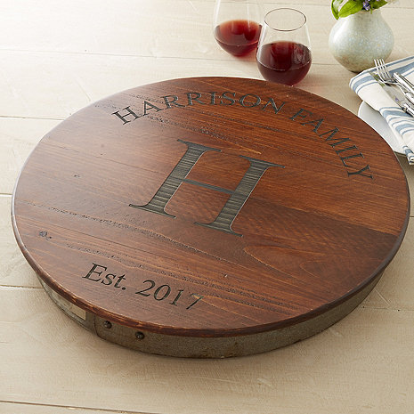 Personalized Raised Wine Barrel Lazy Susan with Family Name & Single Initial