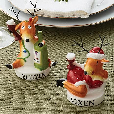 Blitzen and Vixen Salt & Pepper Shaker Set