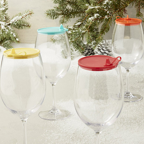 Indoor/Outdoor Cabernet/Merlot Wine Glass Lids (Set Of 4)