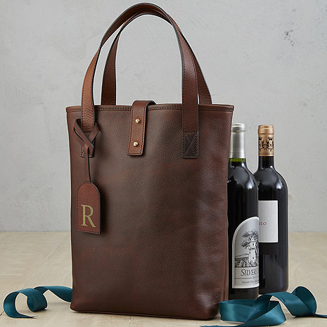 2-Bottle Leather Wine Tote