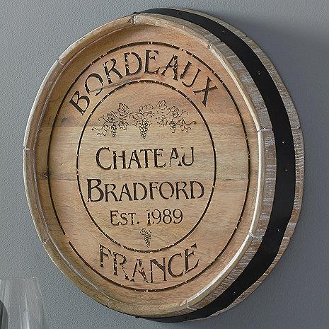 Personalized Bordeaux Quarter Barrel Head Sign