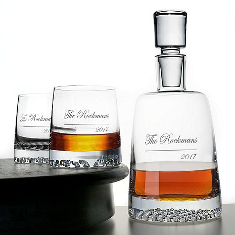 Personalized Diamond Whiskey Decanter & Glasses Set