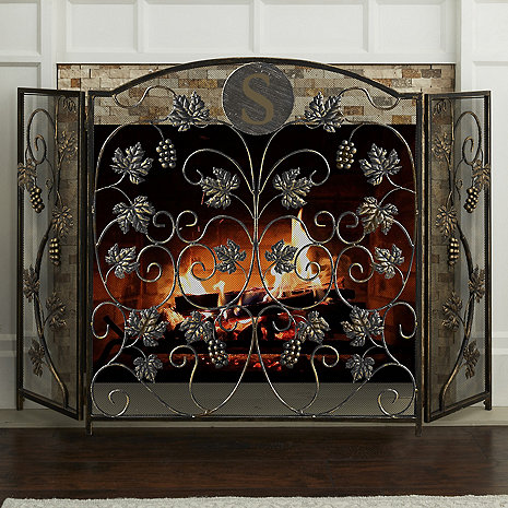 Personalized Grapevine Fireplace Screen