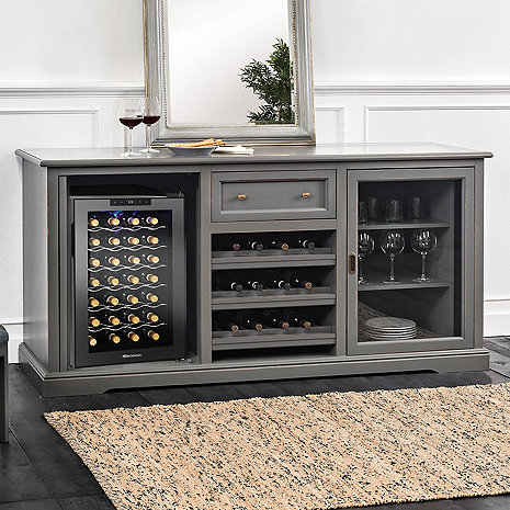 Siena Wine Credenza (Antique Gray) with Wine Refrigerator