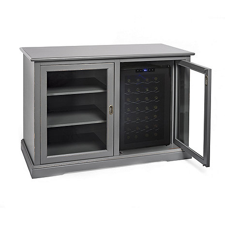 Siena Mezzo Wine Credenza (Antique Gray) with Wine Refrigerator