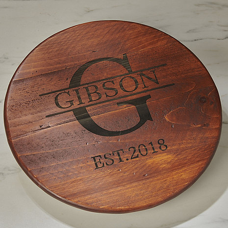 Personalized Raised Wine Barrel Lazy Susan with Name, Single Initial & Year