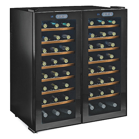 Wine Enthusiast Silent 48 Bottle Touchscreen Double Door Dual Zone Wine Refrigerator (Smoked Glass Doors) (Wood Front Shelves) (Outlet A)