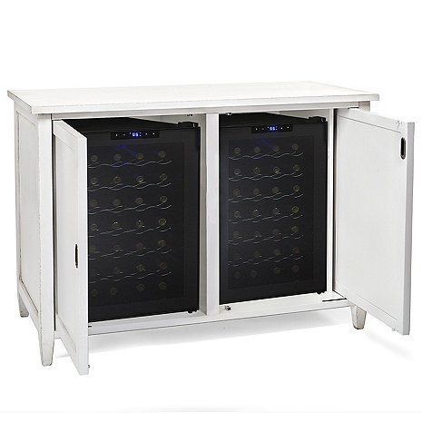 Firenze Mezzo Wine and Spirits Credenza with Two 28 Bottle Touchscreen Wine Refrigerators (Antique White)