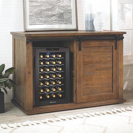 Mesa Sliding Barn Door Cabinet With Wine Refrigerator