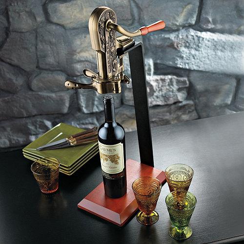 Legacy Corkscrew With Birch Stand Antique Bronze Wine