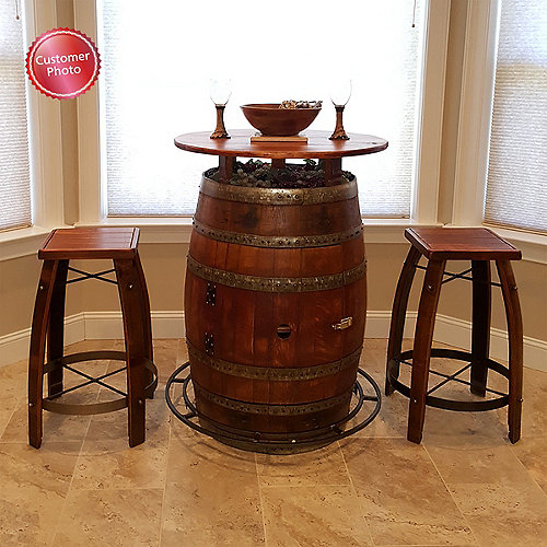 Vintage Oak Wine Barrel Bistro Table Amp Bar Stools Wine