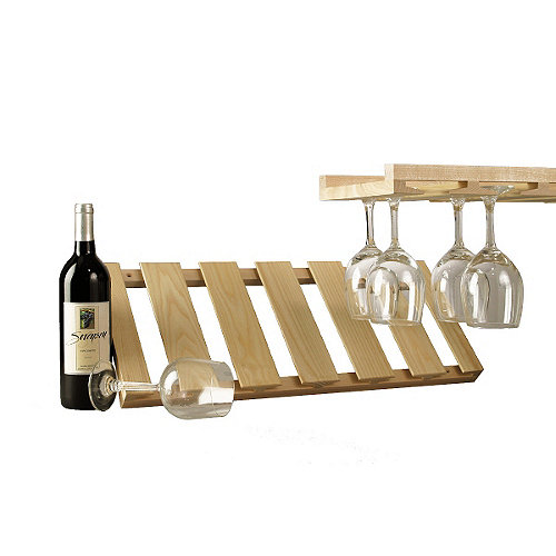 Wooden hanging stemware rack wine enthusiast Hanging wooden wine rack