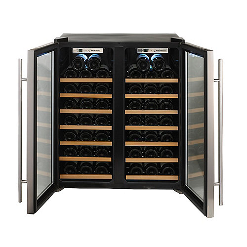 Wine Enthusiast Silent 48 Bottle Double Door Dual Zone Wine Refrigerator  (Stainless Steel Trim Door) (Wood Front Shelves) - Wine Enthusiast