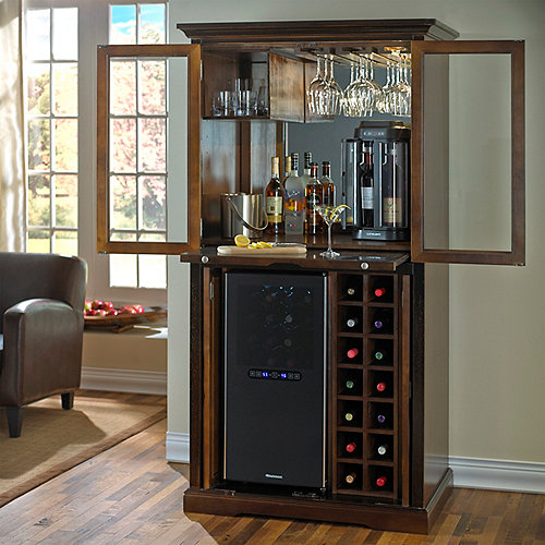 Firenze Wine And Spirits Armoire Bar With 32 Bottle
