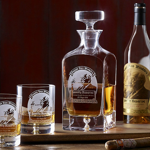 pappy van winkle 39 s family reserve 23 year whiskey decanter glasses set wine enthusiast. Black Bedroom Furniture Sets. Home Design Ideas