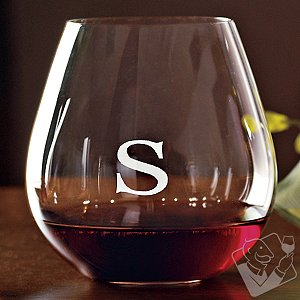 Personalized Riedel 'O' Pinot Noir/Burgundy Stemless Wine Glasses (Set of 2)
