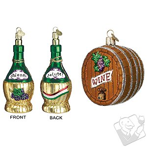 Chianti Bottle  Wine Barrel Ornaments (Set of 2) - Wine Enthusiast