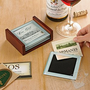 Glass Wine Label Coasters (Set of 4)