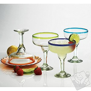 Colorful Bands Mexican Margarita Glasses (set of 4)