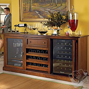 Siena Wine Credenza with 28 Bottle Touchscreen Wine Refrigerator