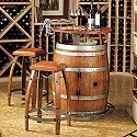 Vintage Oak Wine Barrel Bistro Table & Bar Stools with Leather Seats