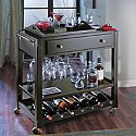 Cortona Bar Cart With Serving Tray (Nero)