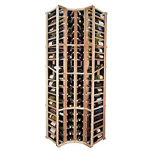 Designer Wine Rack Kit - 4 Column Curved Corner Wine Rack w / Display
