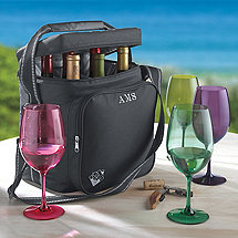 Personalized Weekend Wine Bag PLUS Free Set of 4 Indoor/Outdoor Wine Glasses
