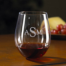 Monogrammed Wine Enthusiast U Cabernet / Merlot Stemless Wine Glasses (Set of 2)