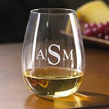 Monogrammed U Chardonnay Stemless Wine Glasses