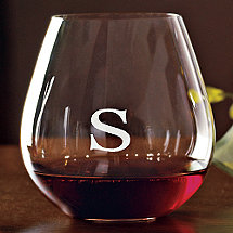 Personalized Riedel 'O' Pinot Noir / Burgundy Stemless Wine Glasses (Set of 2)