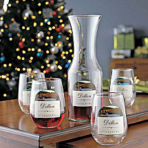 Personalized Vineyards Carafe & Stemless Wine Glass Set
