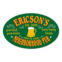 Personalized Oval Neighborhood Pub Sign