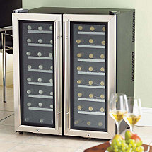 Wine Enthusiast Silent 48 Bottle Double Door Dual Zone Wine Refrigerator (Stainless Steel Trim Door) (Outlet B272480251)