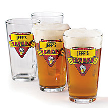 Personalized Red Tavern Beer Glasses (Set of 4)
