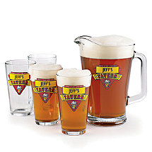 Personalized Red Tavern Beer Set (1 Pitcher & 4 Glasses)
