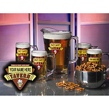 Personalized Red Tavern Beer Set (1 Pitcher & 4 Mugs)