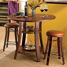 Vintage Oak Bistro Table & Bar Stools with Leather Seats