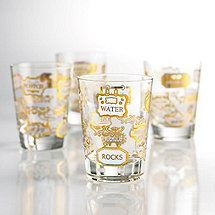 1950s Retro Double Old Fashioned Glasses (Set of 4)