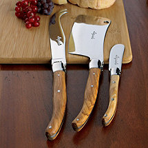 Jean Dubost Laguiole 3-Piece Cheese Knife Set (Olivewood)