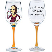 I Drink Party Girl Wine Glass