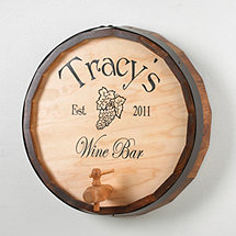 Personalized Oak Wine Barrel Top Sign