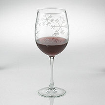 Etched Snowflake Stemmed Wine Glasses (Set of 2)