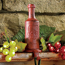 Cast Iron Wine Bottle Stocking Holder (Red)