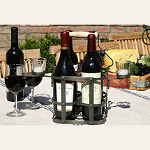 4 Bottle  French  Wine Carrier With Votive Holders
